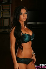 Stunning Alluring Vixen Alisa Teases In Her Teal With Black Lace Bra And Matching Panties-00