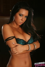 Stunning Alluring Vixen Alisa Teases In Her Teal With Black Lace Bra And Matching Panties-08