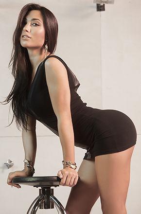 Belen Lavallen In Sexy Black Minidress