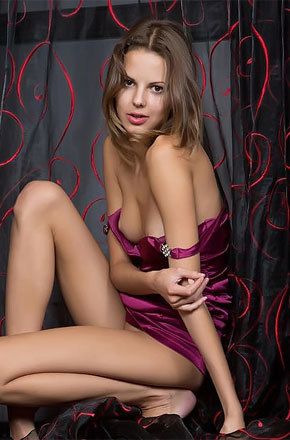 Skinny Brunette On Purple Dress