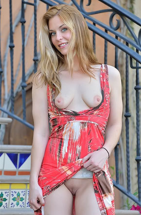 Babe On Dress Flashing Her Tits And Pussy Outdoor