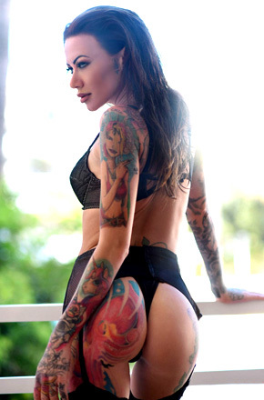 Tattooed Becky Holt Teasing On The Terrace
