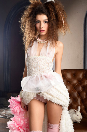 Curly Teen Beauty Cualy With A Bunny
