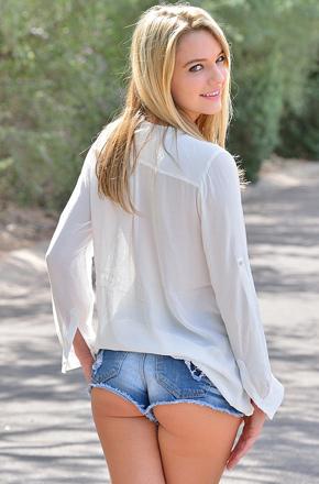 Busty Kenna In Denim Shorts