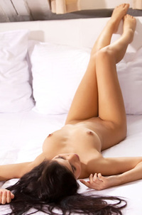 Nika Adorable Lovely Young Brunette White Bed